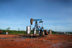 Oil well. Pump exploring in the field Royalty Free Stock Photos