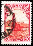 Oil well, Country Products serie, circa 1949. MOSCOW, RUSSIA - MARCH 30, 2019: A stamp printed in Argentina shows Oil well, Country Products serie, circa 1949 royalty free stock images