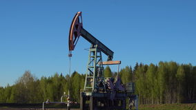Oil-Well Derrick Working in Russia