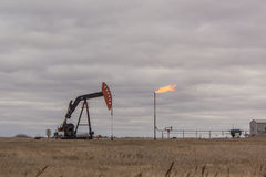 Oil well. Oil drilling well in Saskatchewan royalty free stock photos