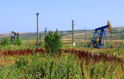 Oil well. Oil drilling wells in the south of Romania Royalty Free Stock Photography
