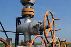 Oil well. The equipment and technologies on oil fields stock photos