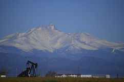 Oil Well and Longs Peak stock photo