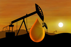 Oil well and oil drop Stock Photography