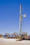 Oil Well Pulling Unit-6942. Oil well pulling units repairs and services existing oil wells Royalty Free Stock Image
