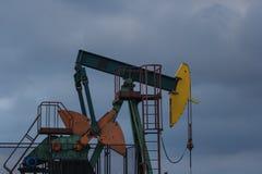 An oil well pump in the Đeletovci, Croatia. Pumpjack.CR2 stock photos