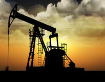 Oil well pump. Extractive and oil industry concept, oil pump Stock Photography