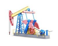 Oil well pump isolated on white background. 3d render image Royalty Free Stock Images