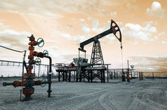 Oil well pump. Toned. Royalty Free Stock Photos