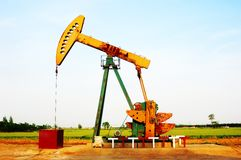 Oil well pumping units Royalty Free Stock Photo