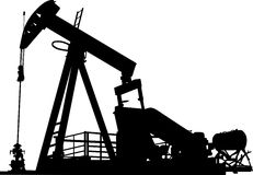 Oil well. Silhouette of an oil well pumping system with vector illustration