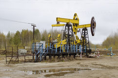 An oil well with a swinging rod pumping. Pumping unit - Individual mechanical actuator rod pump Royalty Free Stock Image