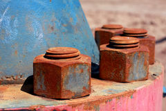 Oil wellhead nuts Royalty Free Stock Image