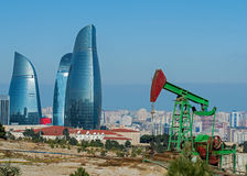 Oil Wells of Baku. Baku has a tradition of oil production and was the worlds largest oil exporter 120 years ago. This heritage can be seen today in and around royalty free stock photo