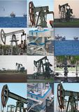 Oil wells collage Stock Image