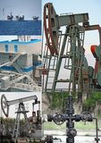 Oil wells collage Royalty Free Stock Photo