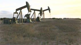 Oil wells on meadow - 3D render Stock Image