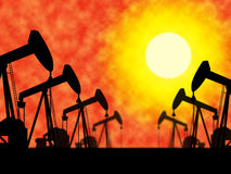 Oil Wells Means Industrial Nonrenewable And Extract Stock Photo