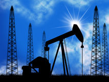 Oil Wells Means Power Source And Drill Stock Photos