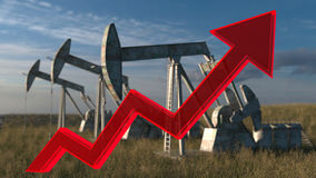 Oil wells - the price of oil rising up. The price of oil rising up - Oil wells - oil pumps on sky background with red arrow Royalty Free Stock Photography