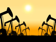Oil Wells Represents Extract Refineries And Oilfield. Oil Wells Showing Oilwell Nonrenewable And Petroleum Royalty Free Stock Images