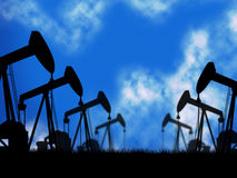 Oil Wells Represents Extraction Drill And Oilwell. Oil Wells Showing Extracting Oilwell And Refineries Royalty Free Stock Image