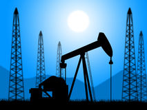 Oil Wells Represents Power Source And Drill. Oil Wells Showing Exploration Extracting And Petroleum Stock Photography