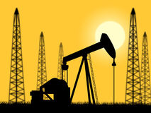 Oil Wells Represents Power Source And Drilling Stock Image