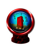 Oil wells and world globe. 3d illustrated gas pump, oil wells and world globe in red frame Stock Photos