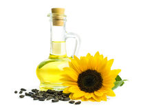 Oil With Sunflower Seeds Royalty Free Stock Image