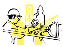 Oil worker. Illustration of an oil worker to work Stock Photo