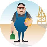 Oil Worker. This big guy who work for a oil company just ready to have his lunch at midday, boy he's hungry! files are vector editabel Royalty Free Stock Photos