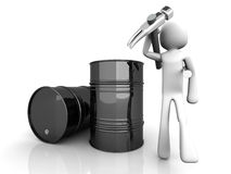 Oil Worker. A worker in the oil industry. 3D rendered illustration. Isolated on white Royalty Free Stock Photos