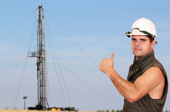 Oil worker with Royalty Free Stock Photo