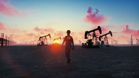 Oil worker inspects oil pumps at sunrise on the background of cloudless beautiful sky. 3D Rendering royalty free illustration