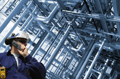 Oil-worker and pipelines Stock Photo