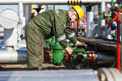 Oil worker repairing wellhead valve with the wrench Stock Photography