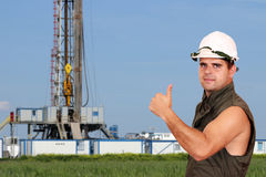 Oil worker thumb up Stock Image