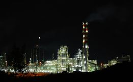 Oil works in night lights. Fabulous oil refinery in night lights Stock Images