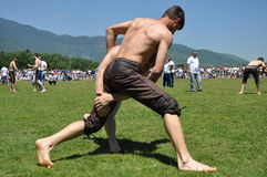 Oil wrestling competition Stock Images