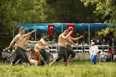 Oil wrestling in Turkey Royalty Free Stock Image