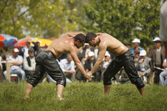 Oil wrestling in Turkey Stock Photo