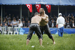 Oil wrestling in Turkey Royalty Free Stock Images