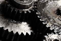 Oiled gears as parts of large mechanism Stock Photo
