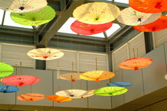Oiled paper umbrella. Hung in hall ceiling royalty free stock photo