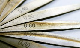 Oiled stainless steel precision blades Stock Photo