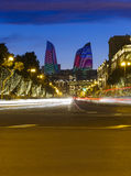 Oilers prospect in Baku. And New Year decorations street Royalty Free Stock Images