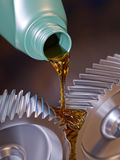 Oiling Gears Close-up Stock Photo