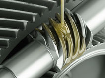 Oiling Gears Close-up Stock Image