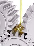 Oiling Gears Closeup 3d Illustration. On White Background Stock Image
